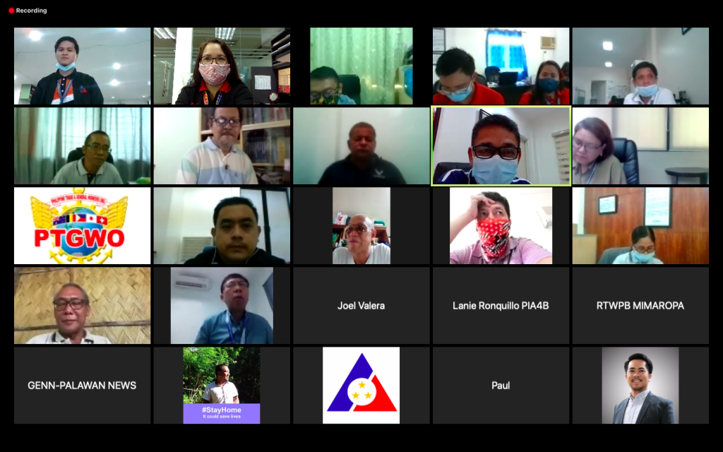 Text Box: DOLE-MIMAROPA RD Albert E. Gutib with the  regional partners during the Launching ceremony of the 1st infomercial project via Zoom meeting